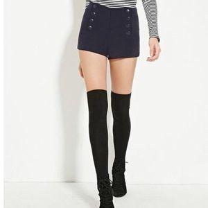 FOREVER 21 Snap Button Navy Sailor Shorts